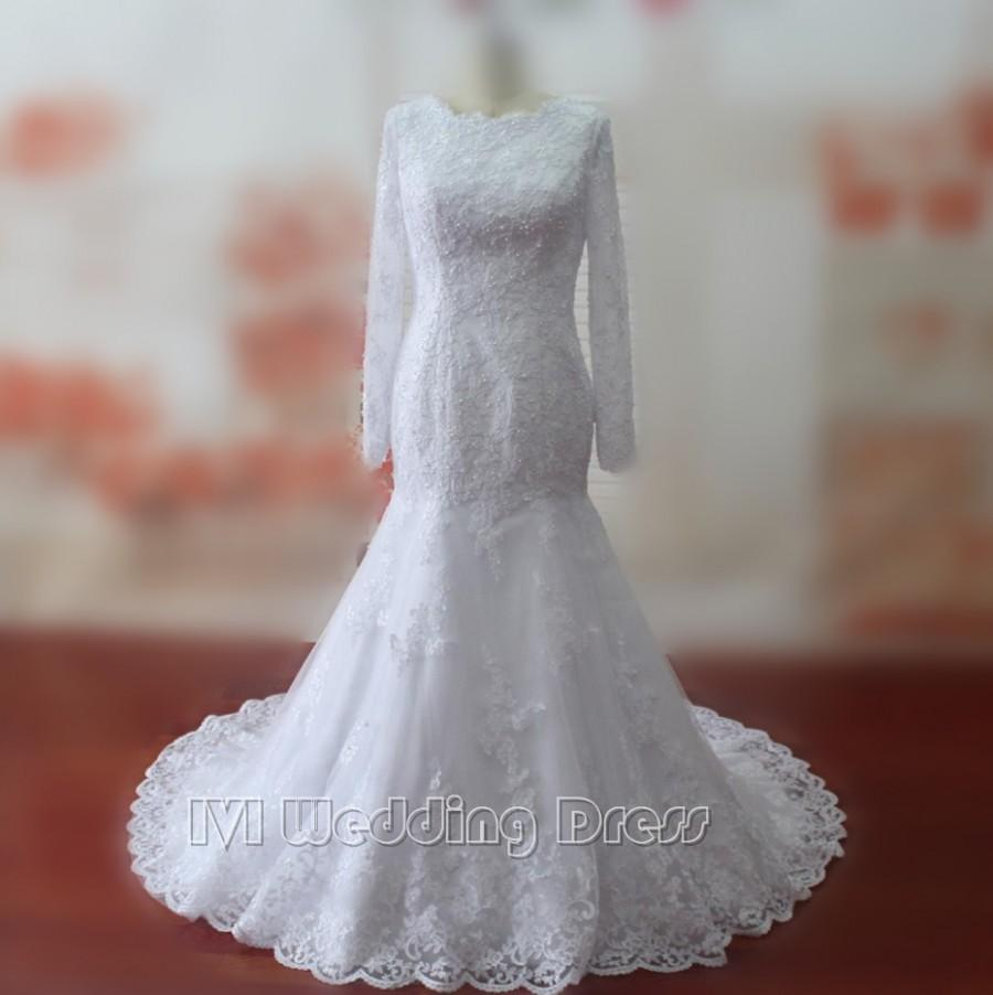 Real samples mermaid wedding dresses lace wedding gowns for Plus size mermaid wedding dresses with sleeves