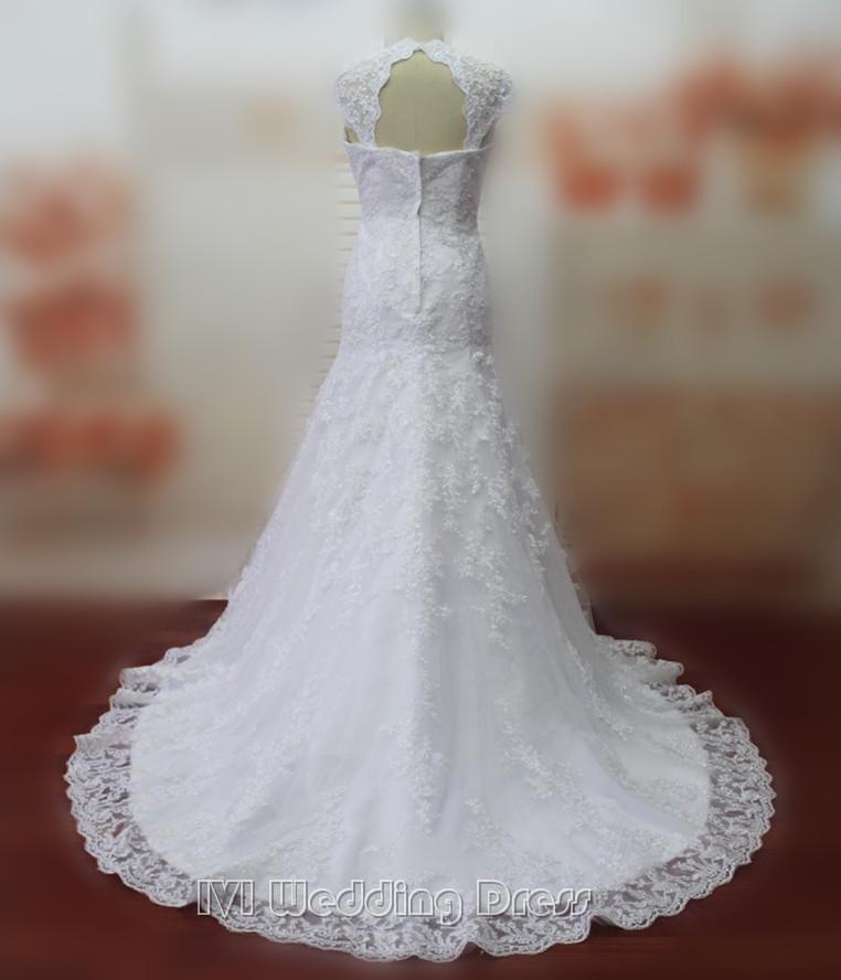 Wedding - Real Pictures Mermaid Wedding Dresses Cap Sleeves Wedding Gowns Bridal Gowns with Lace Bridal Dress