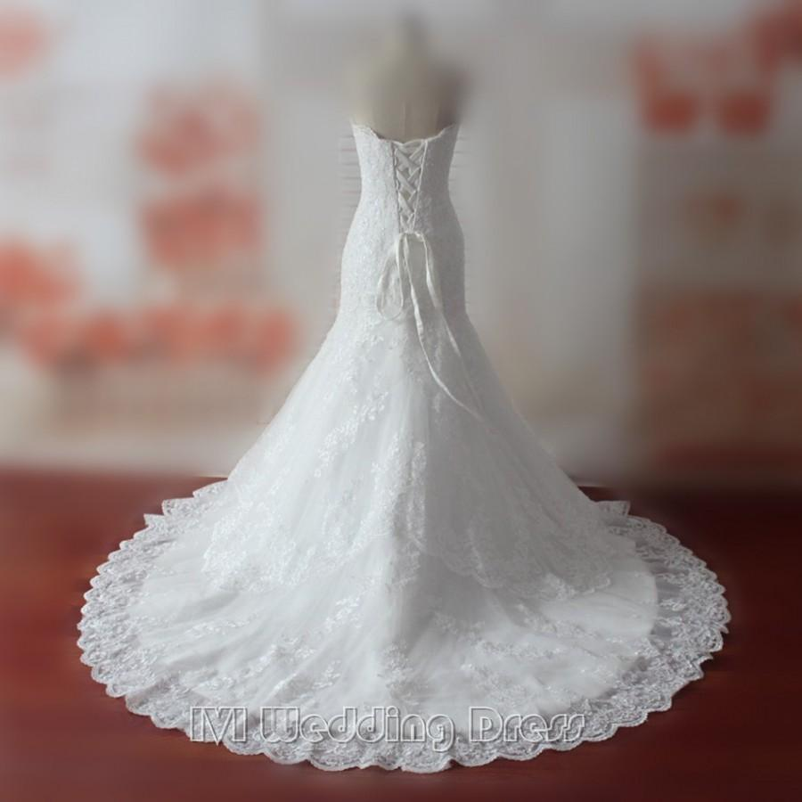 Wedding - Custom Made Wedding Dresses Sweetheart Sequined Wedding Gowns Lace Bridal Gowns Lace-up Chapel Train Bridal Dress