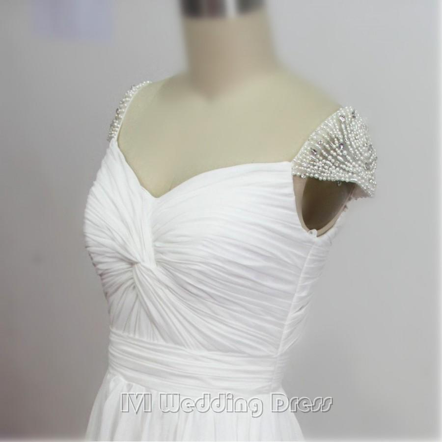 زفاف - Custom Made Boho Wedding Dresses Cap Sleeves with Pearls Beach Wedding Gowns Brush Train Bridal Gowns Chiffon Bridal Dress