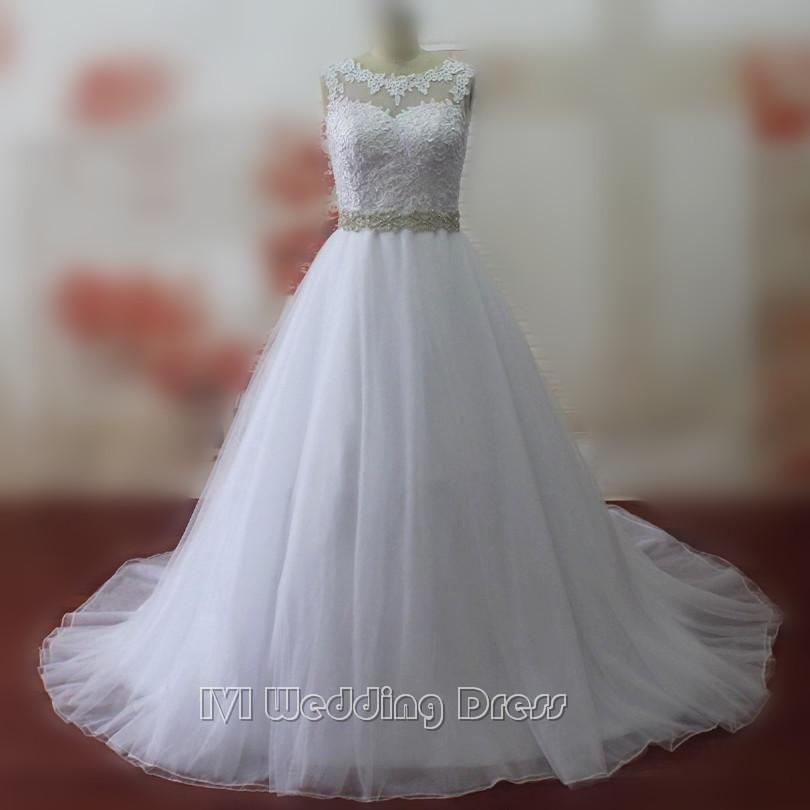 Wedding - Real Pictures Jewel Neckline Wedding Dresses with Lace Custom Size Made Bridal Dresses Wedding Gowns with Beaded Sash Plus Size Bridal Gowns