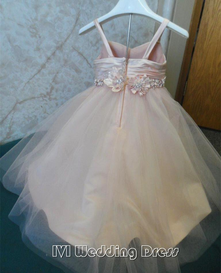 Hochzeit - Real Pictures Flower Girl Dress with Hand Made Flower Petals Are Adorned with Rhinestones Miniature WeddingGown