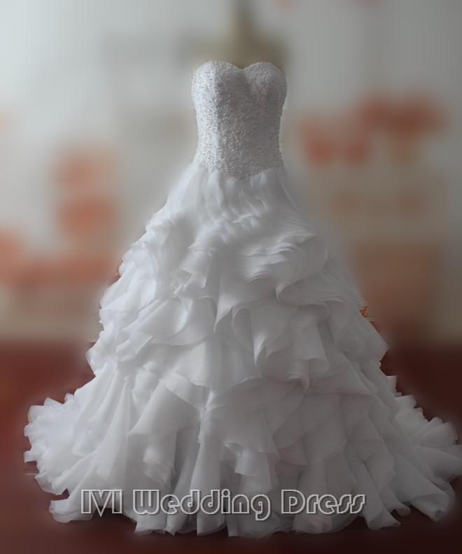 Wedding - Real Pictures Ruffled Sweetheart Wedding Dresses with Pearls Custom Made Elegant Bridal Gowns Plus Size