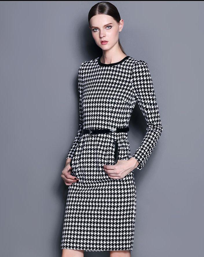 White Black Long Sleeve Houndstooth Dress