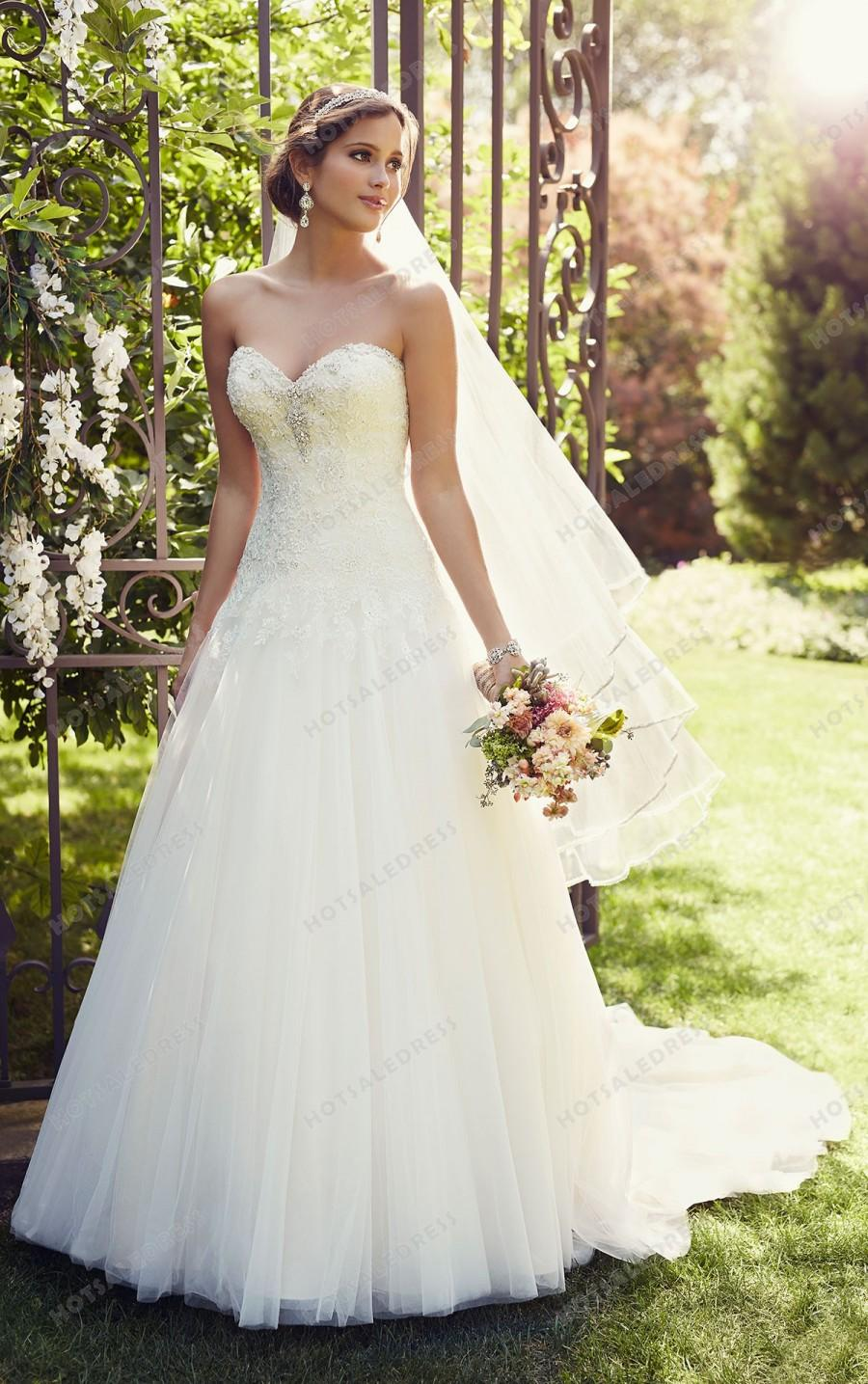 Essense of australia a line lace wedding dress style d1866 A line lace wedding dress australia