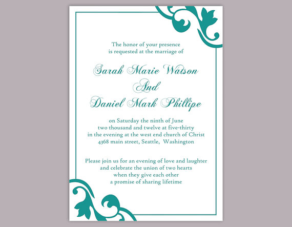 Diy wedding invitation template editable word file instant download diy wedding invitation template editable word file instant download elegant printable invitation teal wedding invitation blue invitations stopboris Gallery