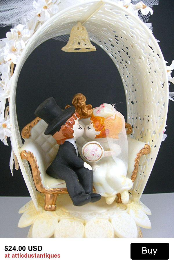 Vintage Ceramic Wedding Cake Topper