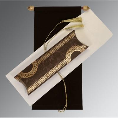Mariage - Whimsical Brown Scroll Wedding Card
