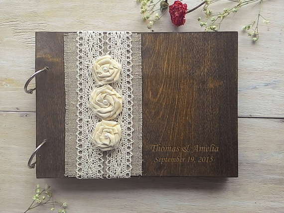 Hochzeit - Wooden Guestbook, Wedding Guest Books, Burlap Lace guest book Rustic GuestBook, Custom wedding guestbook, Rustic Wedding Guest Book