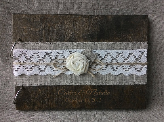 Mariage - Wooden guestbook, Rustic Burlap Lace Gues tbook, Laser engraved Wood Guest Book, Custom Guest Book