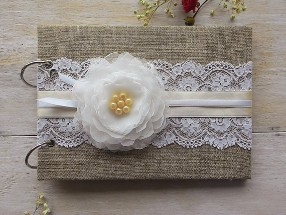 Mariage - Wedding Guest Books Rustic Burlap Lace Guest Book Custom Wedding GuestBook Personalized Guestbook