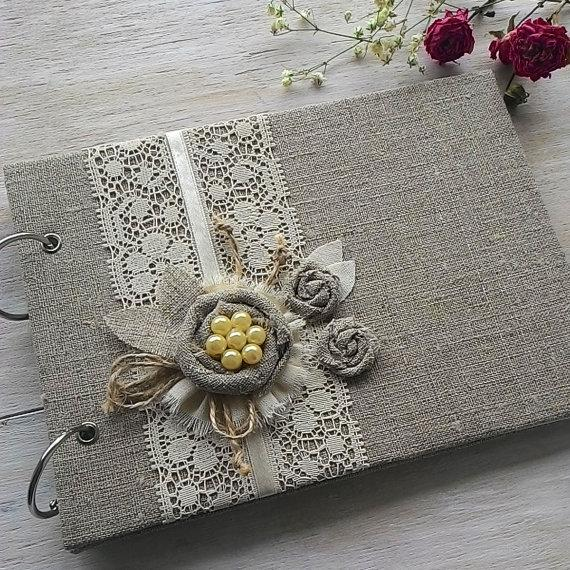 Mariage - Burlap Wedding Guestbook Rustic Guest Book GuestBook Custom Wedding Guest Book Personalized Guestbook