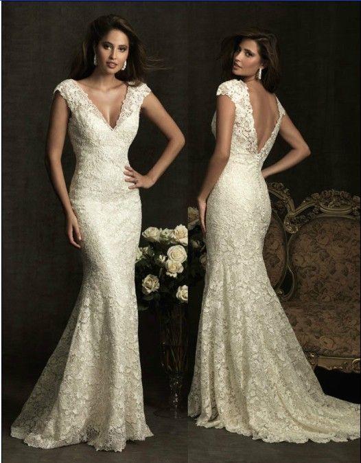 Wedding - V-neck Cap Sleeve Lace Backless Mermaid Wedding Dress