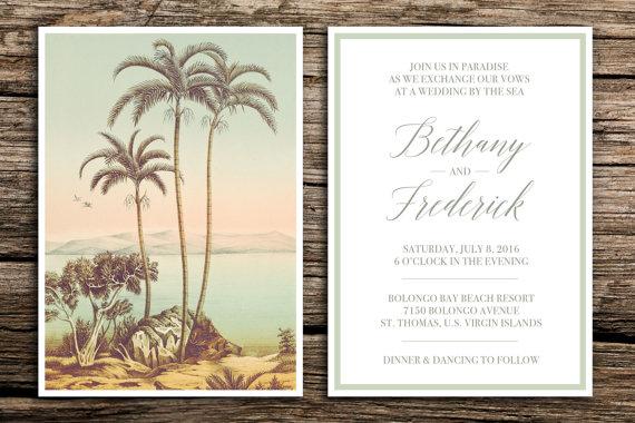 tropical paradise wedding invitation set destination wedding