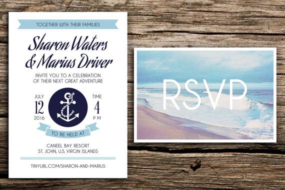 Nautical Adventure Wedding Invitation And Postcard RSVP // Beach Wedding  Invitation Light Blue Navy Blue Anchor Coastal Wedding Invitations