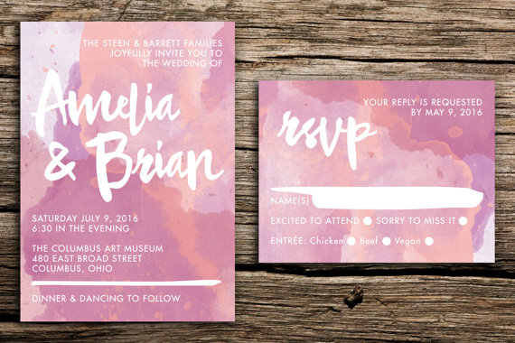 watercolor bohemian wedding invitation set in orchid // modern, Wedding invitations