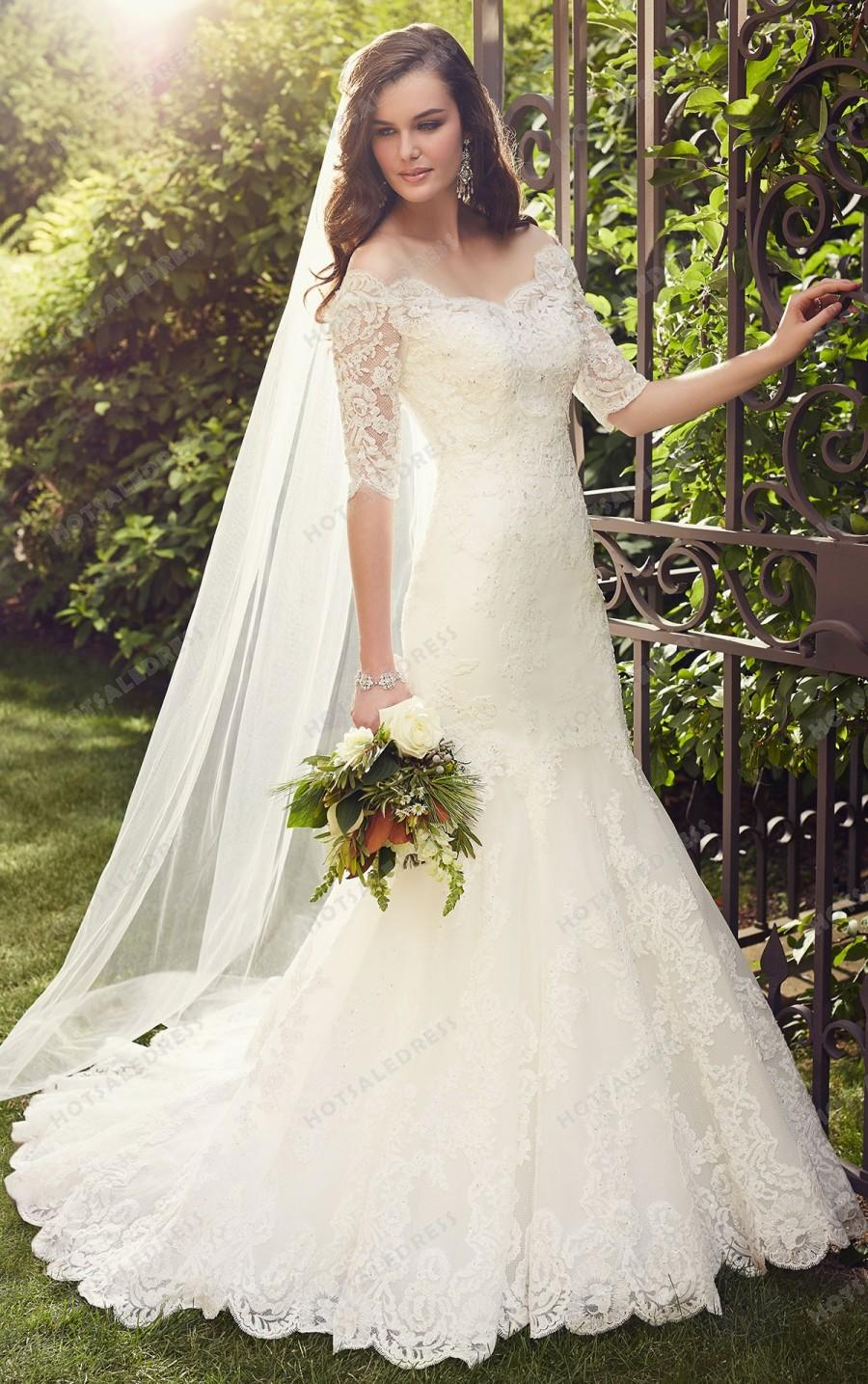 Boda - Essense of Australia Lace Wedding Dresses With Sleeves Style D1748