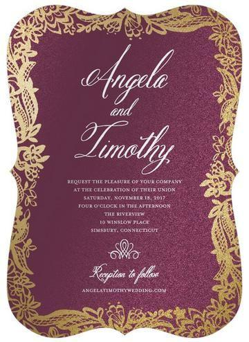Wedding - Blooming Ink - Shimmer Wedding Invitations In Chambord Or Black