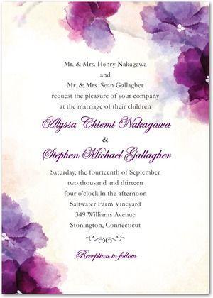 Mariage - Soft Bougainvillea Watercolor Design Wedding Invitations In Purple, Green Or Blue