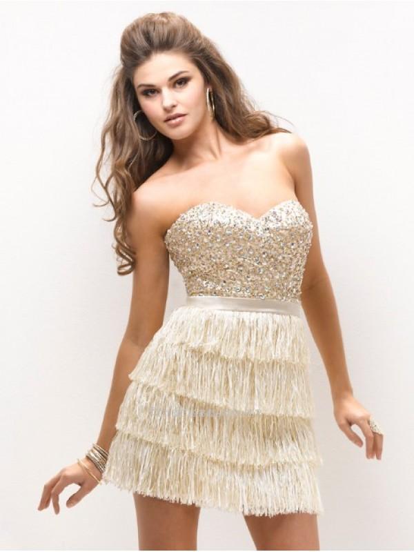 Wedding - Pretty Sheath Satin and Beading Mini-Length Prom DressSKU: PD00093-FL