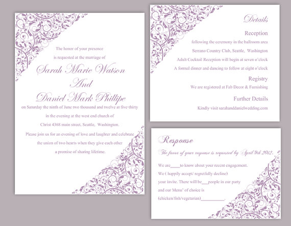 diy wedding invitation template set editable word file instant download printable invitation lavender wedding invitation floral invitation diy wedding invitation template set editable word file instant,Lavender Wedding Invitation Templates