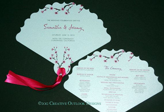 Japanese cherry blossom flower theme wedding ceremony fan program japanese cherry blossom flower theme wedding ceremony fan program stopboris Image collections