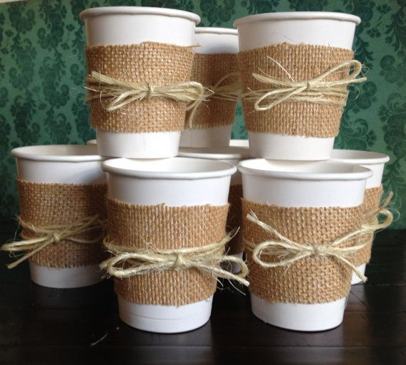 burlap cups for a wedding shower bridal shower wedding baby shower or birthday party paper cups rustic decor decorations centerpieces