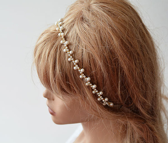 Hochzeit - Wedding Headband, Gold Bridal Hair Accessory, Gold and Pearl Bridal Hair Crown, Pearls and Crystal Headbands, Wedding Hair Accessory
