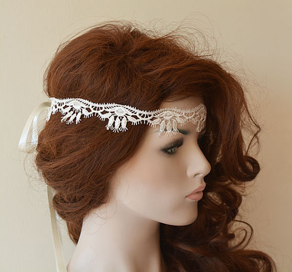 Wedding - Rustic Lace Wedding Headband, Ivory Lace Headband, Bridal Hair Accessory, Rustic Wedding Hair Accessory