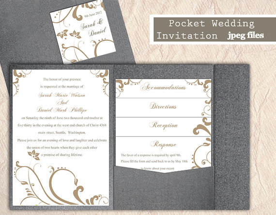 Mariage - Printable Pocket Wedding Invitation Printable Invitation Gold Wedding Invitation Floral Invitation Download Invitation Edited jpeg file