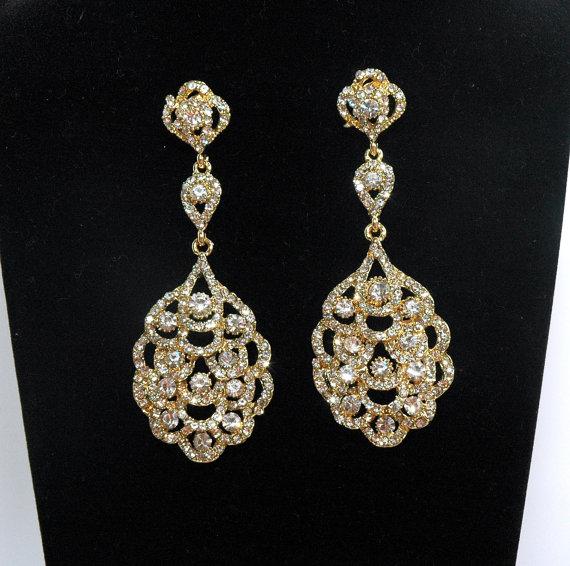 Wedding - Bridal Earrings, Gold Crystal Earrings, Wedding Earrings, Vintage Style Earrings, Wedding Jewelry
