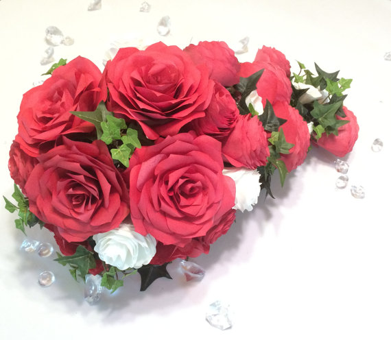 Cascading Bouquet In Red And White Paper Roses And Peonies With