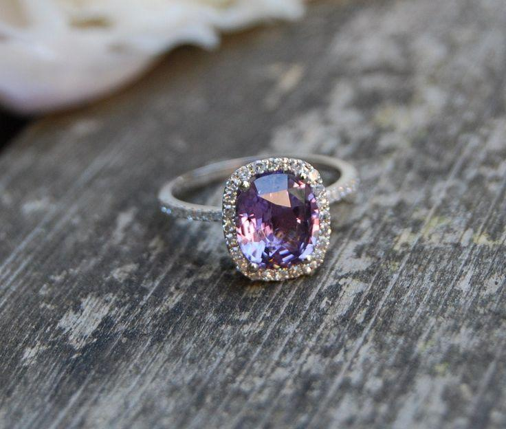 Mariage - 2.6ct Cushion Plum Color Change Sapphire 14k White Gold Diamond Engagement Ring
