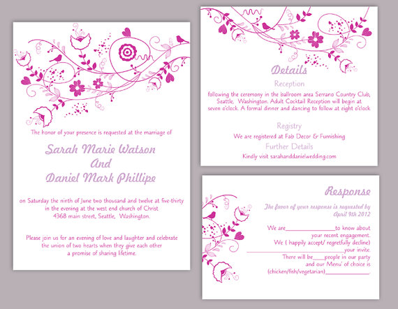DIY Wedding Invitation Template Set Editable Word File Instant Download Flora