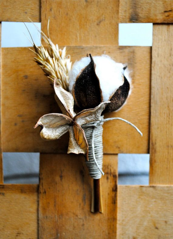 Свадьба - Cotton Boutonniere - Natural Single Cotton Boll With Cotton Bur And Golden Wheat - Groom - Groomsmen
