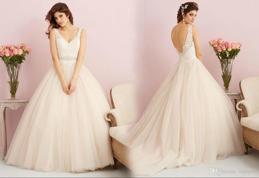 Wedding - 2015 New V-Neck Backless Wedding Dresses Lace/Tulle Beaded Sash Bridal Dresses Wedding Dress Online with $120.16/Piece on Hjklp88's Store