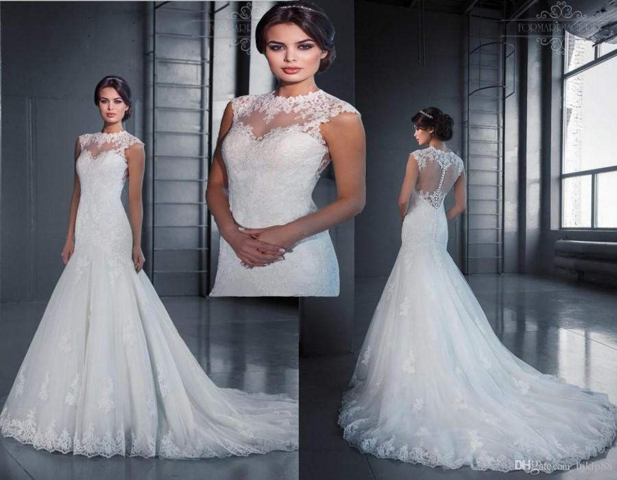 Hot selling sexy illusion jewel neckline wedding dresses lace