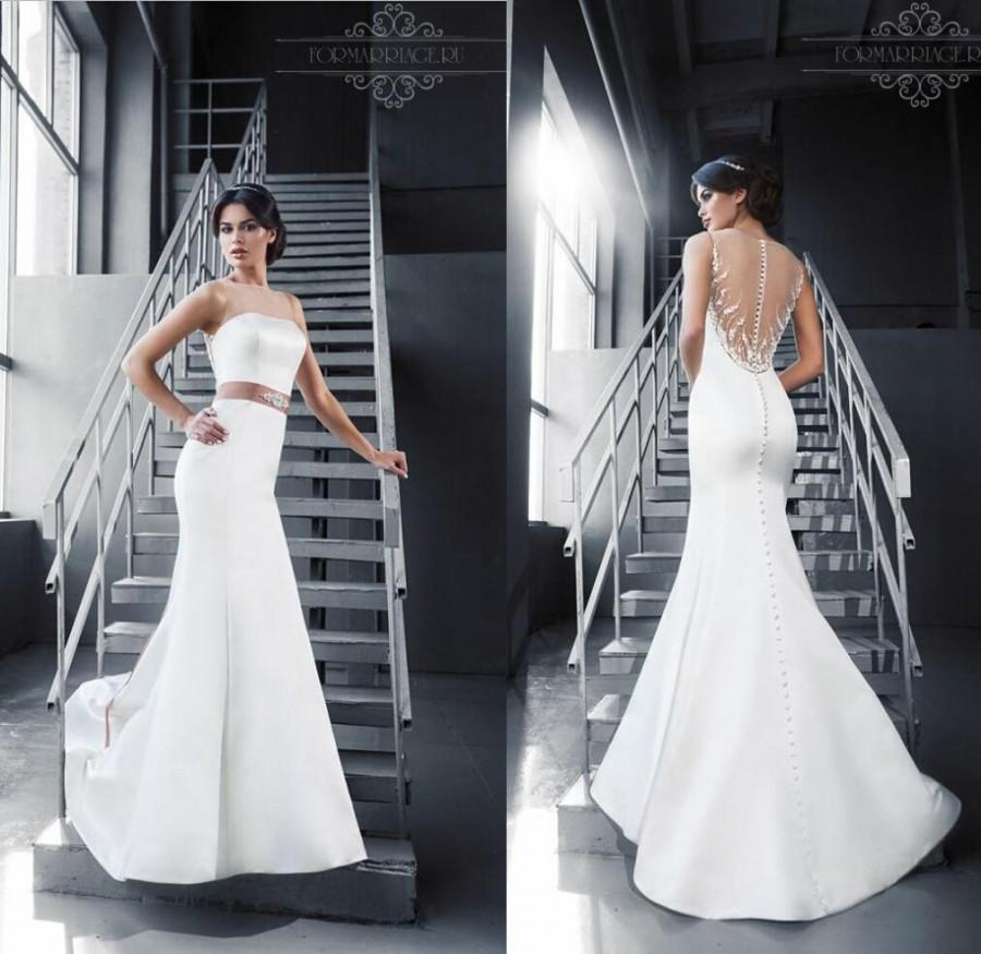 Mariage - New Sexy Sheer Illusion Jewel Neckline Beaded Sash Wedding Dresses 2015 Sheer Backless Bridal Gown Satin Wedding Dress Covered Button Online with $141.37/Piece on Hjklp88's Store