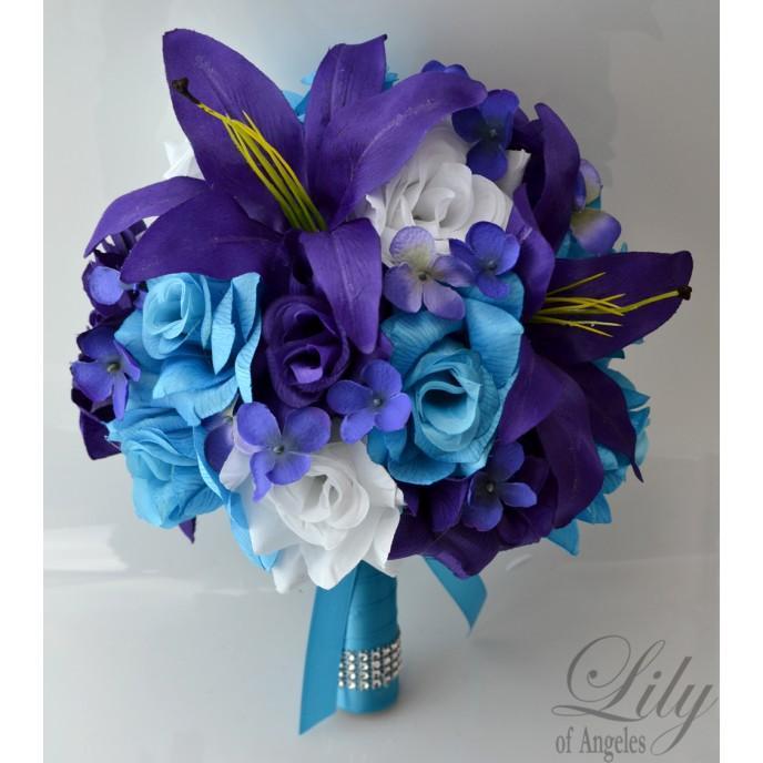 Purple white turquoise malibu wedding bridal bouquet silk purple white turquoise malibu wedding bridal bouquet silk flowers mightylinksfo