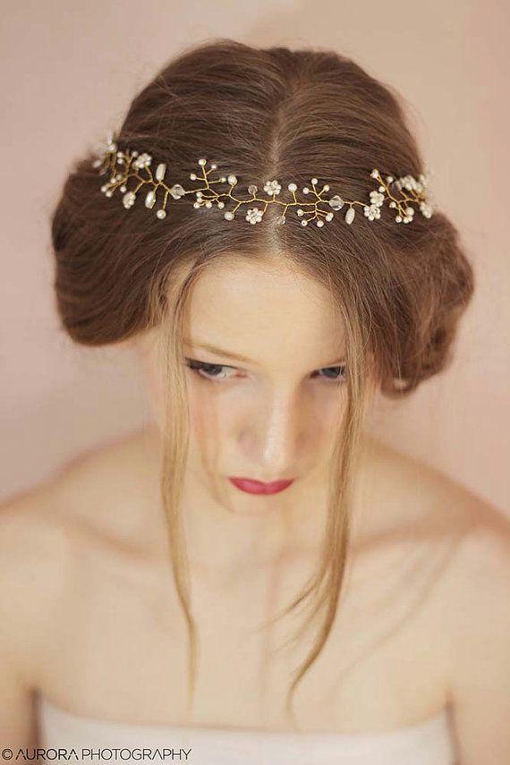 زفاف - Wedding Pearl Headband,Bridal Pearl Hair Vine,Crystal Headband,Pearl Bridal Tiara,Pearl Wedding Crown,Twisted Hair Vine,Bridal Boho Halo