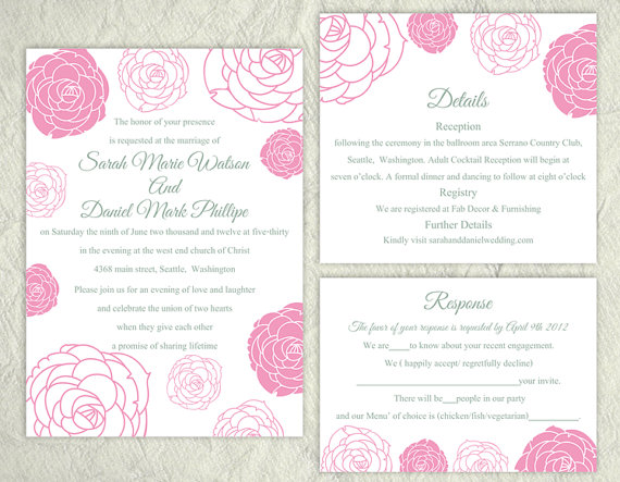 diy wedding invitation template set editable word file instant download printable flower invitation rose wedding invitation pink invitations
