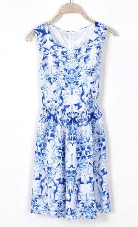 Hochzeit - Blue Sleeveless Porcelain Print Chiffon Dress - Sheinside.com