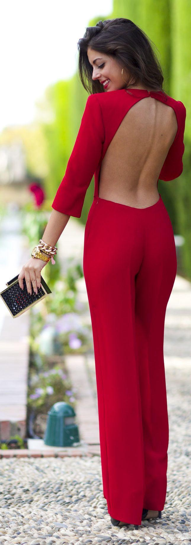 زفاف - Red Backless Cocktail Jumpsuit