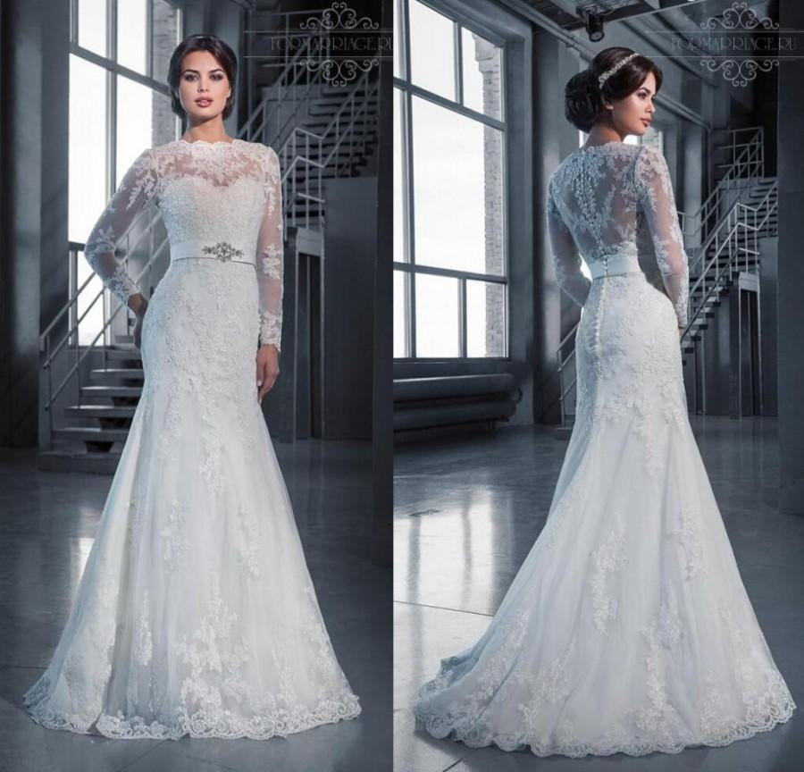 Long Sleeve New Sexy Sheer Illusion Jewel Neckline Beaded Sash Wedding Dresse