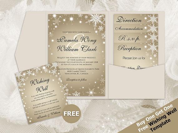 Overnight Wedding Invitations: DIY Printable Wedding Pocket Fold Invitation Set A7 5 X 7