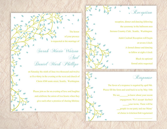 Hochzeit - Printable Wedding Invitation Suite Printable Invitation Leaf Wedding Invitation Green Blue Invitation Download Invitation Edited jpeg file