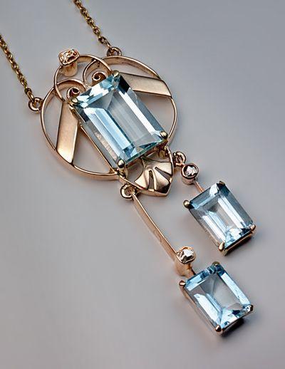 زفاف - Art Deco Aquamarine Jewelry - Vintage Aquamarine Pendant Necklace