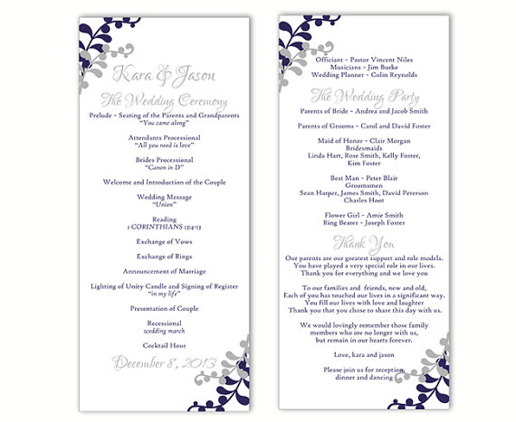 Wedding program template diy editable word file instant for Free wedding program templates word