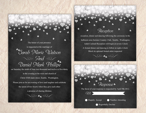 Wedding - Printable Chalkboard Wedding Invitation Suite Printable Invitation Set Heart Wedding Invitation Download Invitation Edited jpeg file
