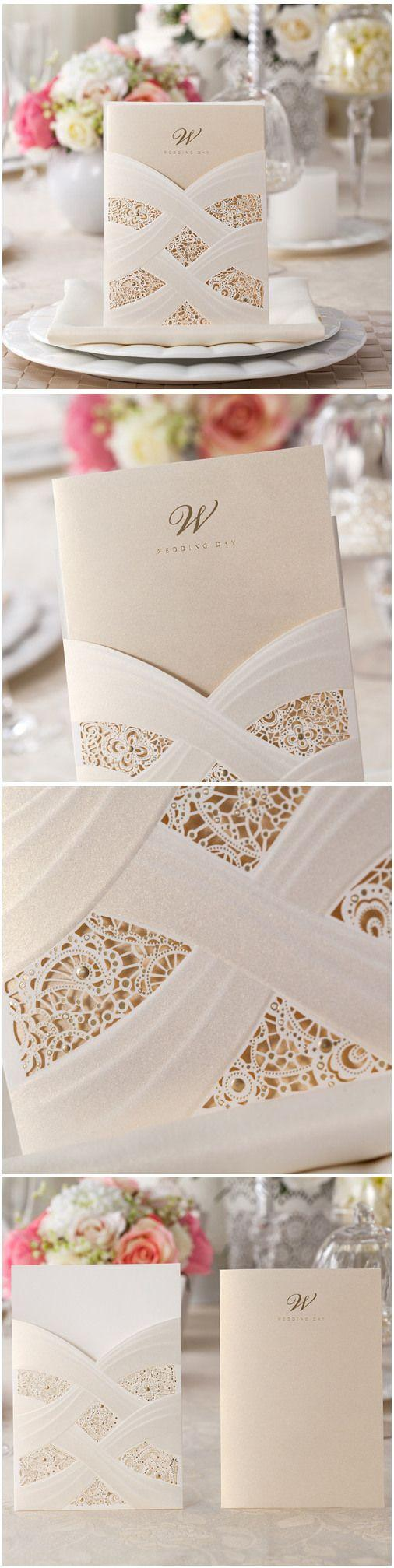 Hochzeit - Elegant Foil Stamped Laser Cut Ivory Pocket Wedding Invitations EWWS025